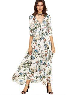 b0f929f4010 Milumia Women's Button Up Split Floral Print Flowy Party Maxi Dress White  XXL: Size Chart:br Short Sleeve:br br Shoulder(inch): Bust(inch): Waist ...