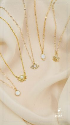 We love sparkly opals so much. Here's a roundup of some of our favorite necklaces. That little daisy is ADORABLE! Opal Necklace, Dainty Jewelry, Opals, Initial Necklace, Personalized Jewelry, Daisy, Necklaces, Silver, Fashion