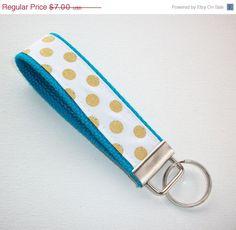 SALE  Key FOB / KeyChain / Wristlet   Gold metallic dots by Laa766  preppy / fabric / cute / patterns / key chain / office, nurse, student id, badge / key leash / gifts / car key ring