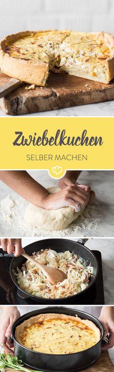 Hefeteig,  Speck und Zwiebeln satt! Das kann doch nur klassischer Zwiebelkuchen sein. Hier gibt's für dich das Grundrezept plus Infos und viele Tipps.