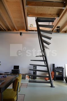 Square spiral staircase / metal frame / metal steps / without risers - TSS 067 - EeStairs Staircase Metal, Black Staircase, Spiral Staircase, Stair Railing, Staircase Design, Attic Stairs, House Stairs, Interior Stairs, Small Spaces