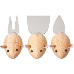 Couteaux à fromages souris bois