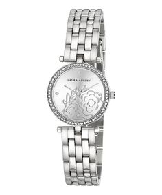 Look at this #zulilyfind! Crystal & Silver Floral Chain-Link Bracelet Watch by Laura Ashley #zulilyfinds