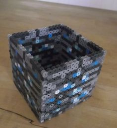 Minecraft Diamond Ore Pencil Box perler beads by TheMeltedGeek