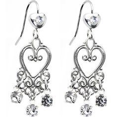 Clear Crystal Bleeding Hearts Chandelier Earrings