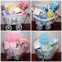 Baby Boy Girl Hamper Gift Basket Pram Christening New Born Baby Shower Gift NEW