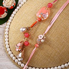 Floral and Pearl Work Bhaiya Bhabhi Rakhi in Wooden Box