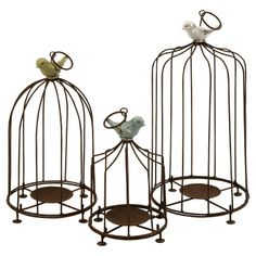 Bird cage candle holders