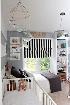 Shared Kids Rooms: Toddler and older sibling. Now that the baby is sleeping through the night they can move in together.