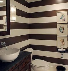 To da loos: Black & white striped walls Decor, Renting A House, Home, Decorating On A Budget, Small Bathroom, Modern Bathroom, Bathroom Design, Bathroom Decor, Striped Walls