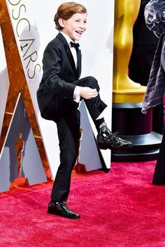 Jacob Tremblay poses in the press room during the 88th Annual Academy Awards at Loews Hollywood Hotel on February 28, 2016 in Hollywood, California.