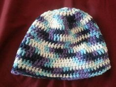 Blue and Purple Adult Crochet Hat by BubblesOfDeath on Etsy, $10.00