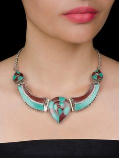 Buy Silver Red Turquoise Tribal Necklace by House Semi Precious Stones Jewelry Colaba Tales Etched Necklaces with Beads & Online at Jaypore.com