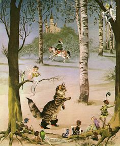Deans Gold Medal Book of Fairy Tales -Puss in Boots, illustrator unknown
