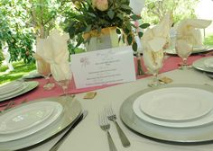 apple orchard weddings, kissing menus, tablescape, pink, gold and silver table setting Silver Table, August 24, Apple Orchard, Kissing, Tablescapes, Table Settings, Weddings, Table Decorations, Pink