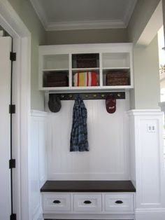 """in your wallet? And """"Beach Farmhouse"""" Tour Beadboard and cubbies with coathangersBeadboard and cubbies with coathangers Entry Closet, Closet Doors, Mudroom, Decoration, Home Organization, Interior Design Living Room, Home Projects, Sweet Home, New Homes"""