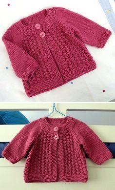 Easy Baby Knitting Patterns, Baby Cardigan Knitting Pattern Free, Crochet Baby Dress Pattern, Knitted Baby Cardigan, Knit Baby Sweaters, Knitting For Kids, Free Knitting, Couture, Van Niekerk