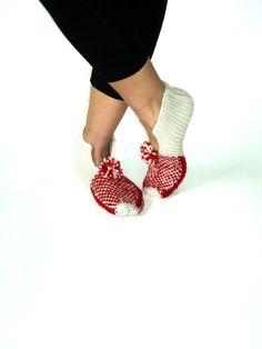 Valentines,  Ivory  Wool Slippers. $30.00, via Etsy.