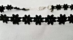 Black thin mini Flower   Goth choker 80's and 90's by zharenee