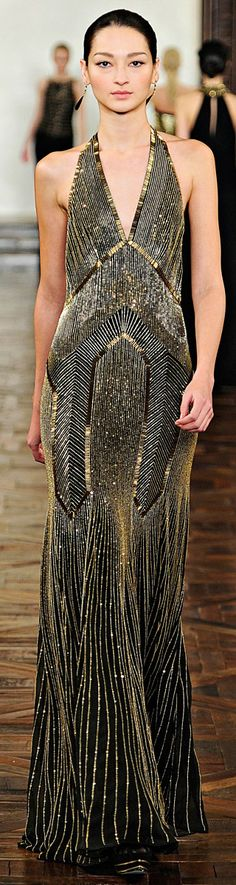 Great Gatsby inspired Black with gold trim sequined gown - Ralph Lauren - RTW - F/W 2012-2013