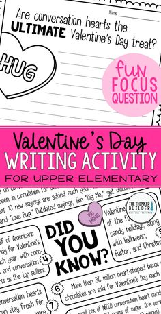 """Opinion writing for Valentine's Day! A full lesson, focused around an engaging focus question: """"Are conversation hearts the ultimate Valentine's Day treat?"""" Carefully chosen facts included for students to analyze, discuss, and use to support their opinions. Complete with lesson plans, printables, and extensions. Gr 3-5 ($) Or check out the February Bundle here: https://www.teacherspayteachers.com/Product/Opinion-Writing-for-February-BUNDLE-Groundhog-Valentines-Presidents-Day-3602995"""