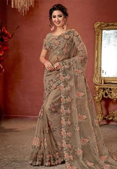 f1468f5fa35 Buy Light Brown Net Festival Wear Saree 160372 with blouse online at lowest  price from vast