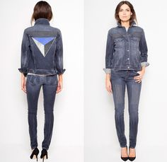 Kelly Wearstler Pavlov Denim Jacket with Studded Front and Graphic Embroidered Patched Back Details - 2013-2014 Fall Winter Womens Collection - Made in Denim Finds #MadeInDenim #DenimFinds #FridayFinds #FridayDenimFinds