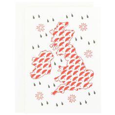 Raining letterpress mini card