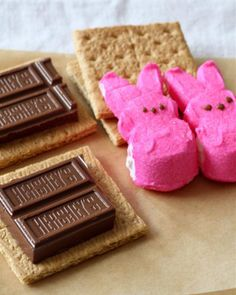 Made these with my kiddos today, we microwaved the Peeps for 10 seconds and then put the chocolate on after. They loved them!