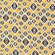 "Mustard Black Small Ethnic Diamonds Cotton Jersey Blend Knit Fabric - A ethnic inspired diamond design in black on a golden mustard yellow and white background cotton jersey rayon blend knit.  Fabric is light to mid weight, very soft, with a nice drape and stretch.  Largest diamond measures 1 3/4"" (see image for scale).  ::  $6.25"