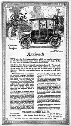 https://flic.kr/p/qWRJD1 | Vintage Newspaper Advertising For The 1913 Detroit Electric Automobile In The Brooklyn New York Daily Eagle, October 6, 1912 | The Detroit Electric automobile was an electric car produced by the Anderson Electric Car Company in Detroit, Michigan from 1907 - 1939.