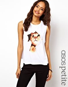 ASOS PETITE Vest with Peeking Kitten
