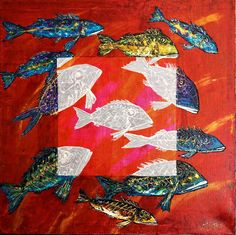 Colori di Luce- Rosso, acrylic over golden leaf on linen canvas, size 80 x 80 cm, year 2014