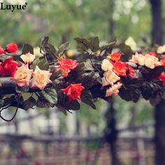 2pcs/lot Artificial garlands flowers silk vines fake foliage hanging flowers vines for wedding decoration home and party decor