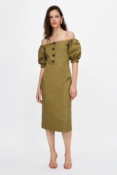 8a9735361a ZARA - WOMAN - OFF-THE-SHOULDER DRESS Minimal Outfit
