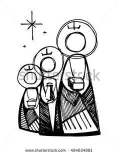 Hand drawn vector illustration or drawing of the three biblical wise men Christian Drawings, Christian Art, Christmas Bible, Three Wise Men, Sacred Art, Bible Art, Painting For Kids, Religious Art, Coloring Pages