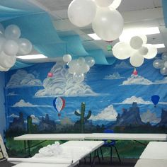 Sky VBS, We painted butcher paper to makes the wall look like our Az desert!