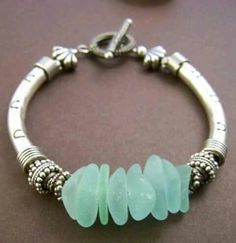 Bracelets Trends : Mermaid Bracelet Sea Glass with Sterling Silver Tube Bracelet Beach Jewelry, Sea Glass Jewelry, Wire Jewelry, Jewelry Crafts, Jewelery, Jewelry Bracelets, Handmade Jewelry, Bohemian Bracelets, Pandora Bracelets
