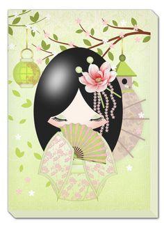 Title: Friendship Kokeshi Doll Canvas Print by MoonlakeGreetings Momiji Doll, Kokeshi Dolls, Japanese Design, Japanese Art, Asian Quilts, Japanese Quilts, Chinese Art, Asian Art, Paper Dolls