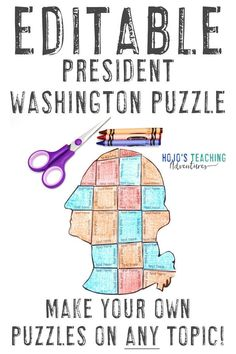 Create your own Presidents Day activities with this great President Washington EDITABLE puzzle. Use it for math, literacy, vocabulary, or any concept that fits within the text boxes. Great for use with your 1st, 2nd, 3rd, 4th, 5th, 6th, 7th, or 8th grade classroom or homeschool students. Plus there's a FREE download to test out. Great for elementary or middle school. Grab it today! (Year 1, 2, 3, 4, 5, 6, 7, President's Day, Presidents' Day) #HoJoTeaches #PresidentsDay 5th Grade Classroom, Middle School Classroom, Special Education Teacher, Teacher Resources, Critical Thinking Skills, Book Activities, Grammar Activities, Presidents Day, Math Literacy