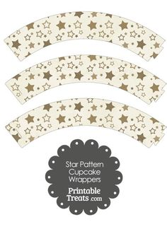 Vintage Brown Star Pattern Cupcake Wrappers from PrintableTreats.com