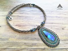 Blue Lagoon, bead embroidered labradorite pendant, with herringbone necklace, created by Annie & The Beads