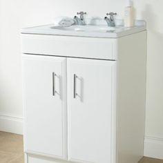 BQ White Vanity Cabinet With Doors 600mm 0000003367759
