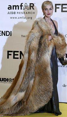 Sharon Stone wearing an oversized fox coat
