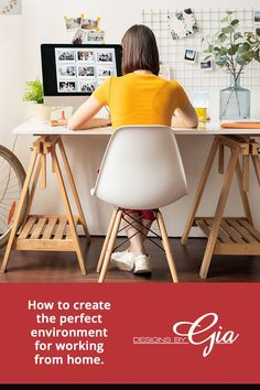 Working from home> Here are some tips to set up your workspace. Tips from a professional interior designer Interior Design And Build, Dark Basement, Home Office Space, Coworking Space, Tripod Lamp, Design Projects, Your Design, Blog, Home Decor