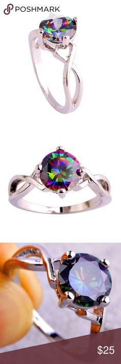 Rainbow Topaz Gemstone Silver Ring Size 8 lingmei Rainbow Topaz Gemstone Silver Ring Size 8 Solitaire Round Cut Jewelry Rings