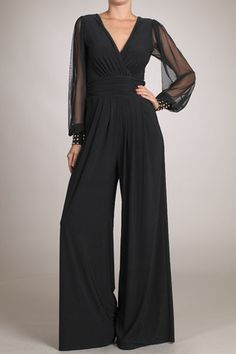 Deep V Flare Jumpsuit with Studs | Icon Clothing, Inc.