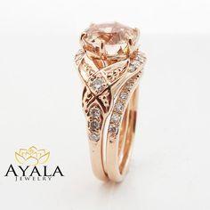 Fl Morganite Engagement Ring Diamond Wedding Por Ayaladiamonds