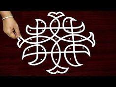 Simple sikku kolam designs with dots - easy sikku rangoli designs - daily muggulu designs Simple Rangoli Designs Images, Rangoli Designs Flower, Small Rangoli Design, Rangoli Ideas, Rangoli Designs With Dots, Kolam Rangoli, Rangoli With Dots, Beautiful Rangoli Designs, Kolam Designs