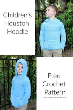 Children's Houston Hoodie Free Crochet Pattern by Two Brothers Blankets! Sizes 2 through Crochet Toddler, Crochet Bebe, Crochet For Boys, Free Crochet, Simple Crochet, Crochet Children, Easy Knit Baby Blanket, Knitted Baby Blankets, Boy Crochet Patterns